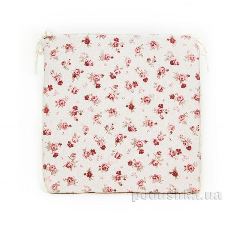 Подушка-сидушка для стула Прованс Red Rose на завязках