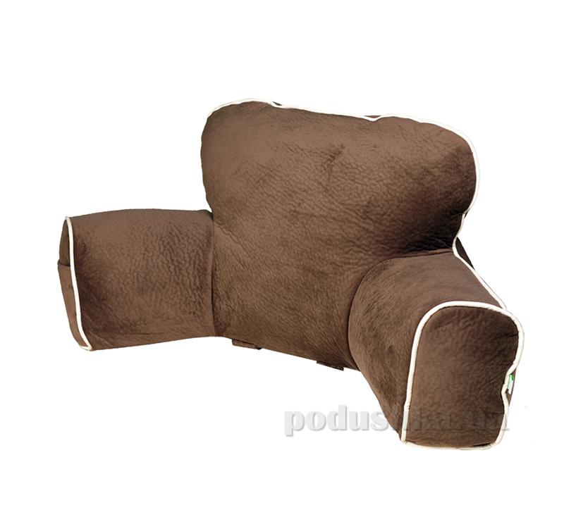 Подушка Ergo Lounge коричневая с бежевым кантом