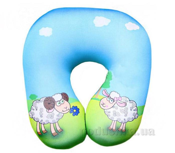 Подушка рогалик антистрессовый-турист Влюбленные овечки 15асп13ив