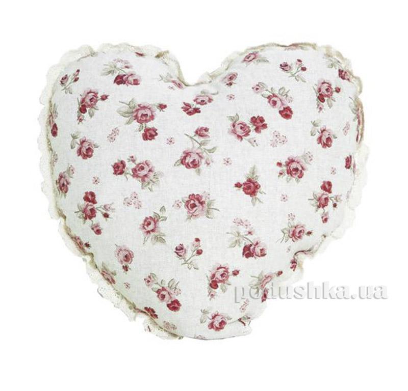 Подушка ручной работы Сердце Red rose Прованс 1707