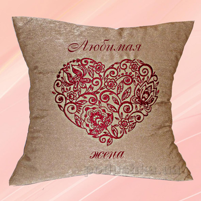 Подушка с вышивкой Украина Сердце Какао 40х40 см наволочка (двусторонняя вышивка) Украина