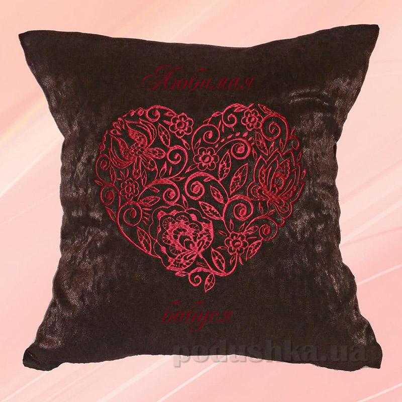 Подушка с вышивкой Украина Сердце Коричневая 40х40 см наволочка (двусторонняя вышивка) Украина