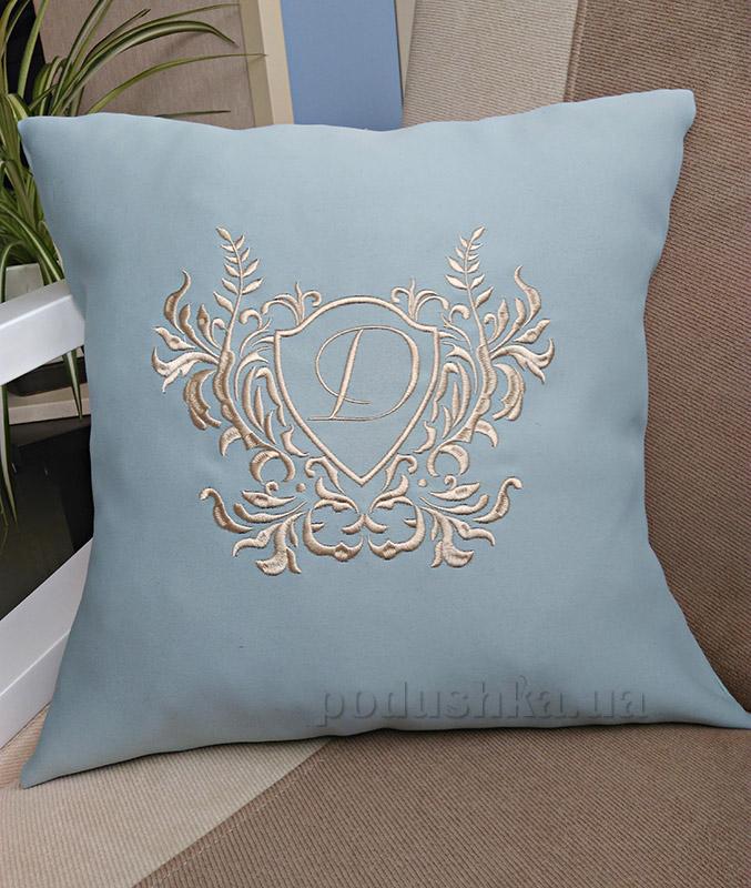 Подушка с вышивкой Украина Venzel Голубая 40х40 см наволочка (двусторонняя вышивка) Украина