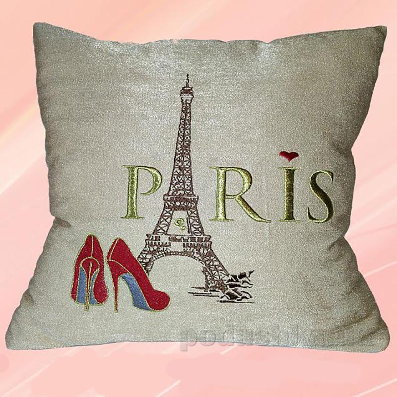 Подушка с вышивкой Украина ДП49 Париж какао