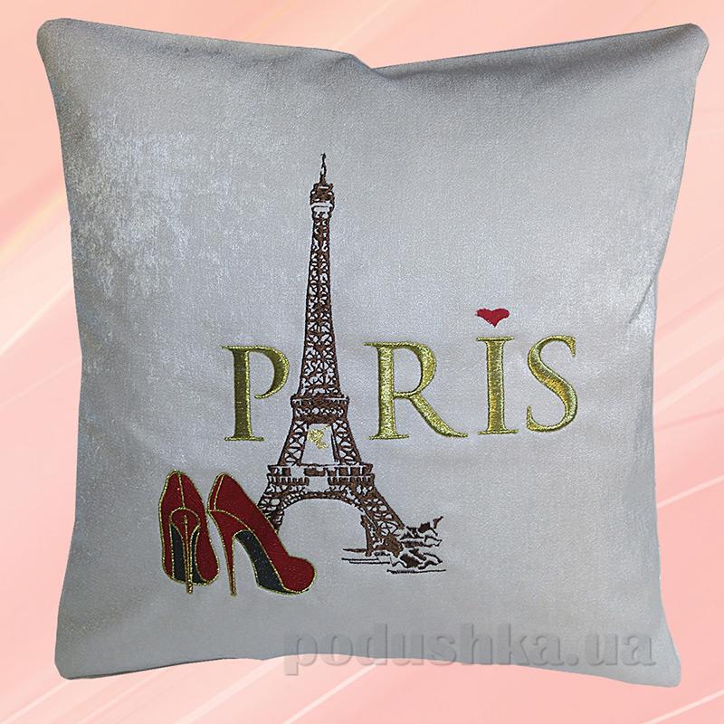 Подушка с вышивкой Украина ДП51 Париж Бежевая