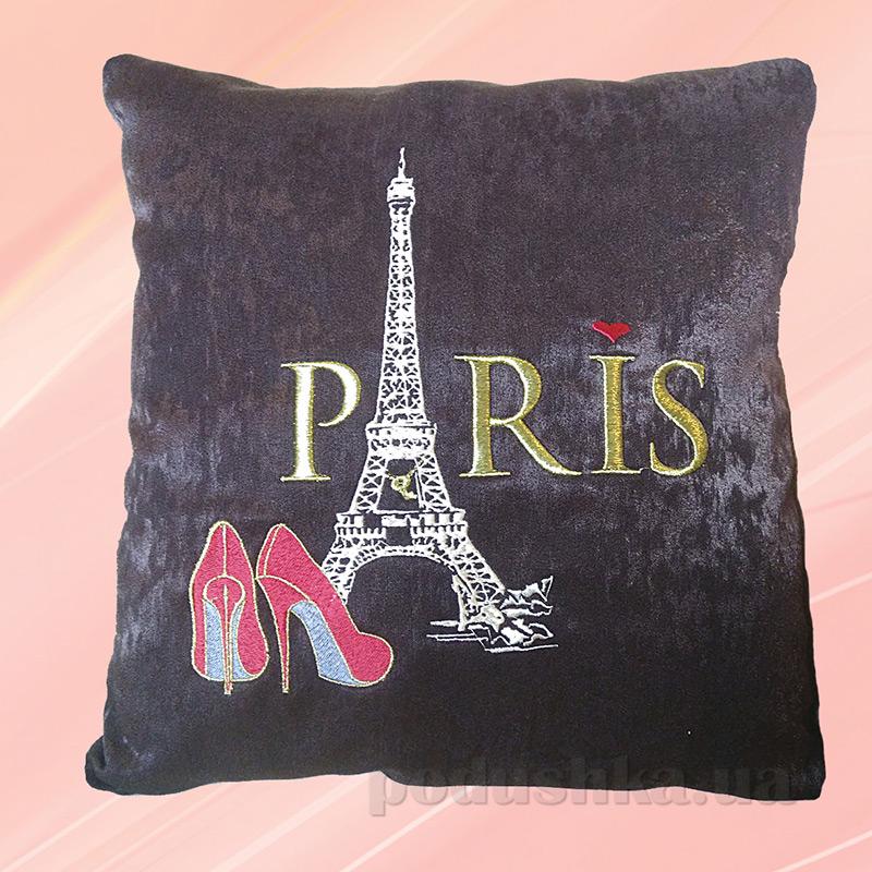 Подушка с вышивкой Украина ДП52-Париж коричневая
