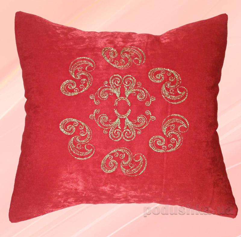 Подушка с вышивкой Украина ДП61 Красная Золото
