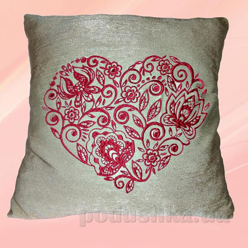 Подушка с вышивкой Украина ДП67 Сердце Какао
