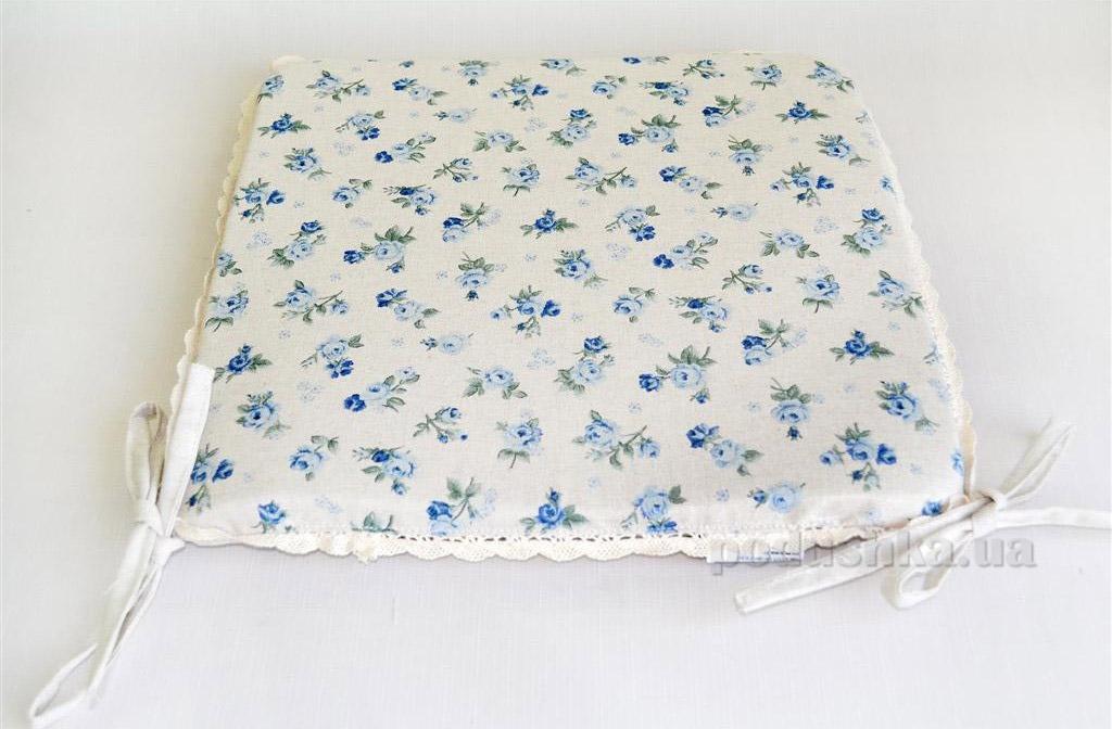 Подушка-сидушка для стула Прованс Blue rose на завязках