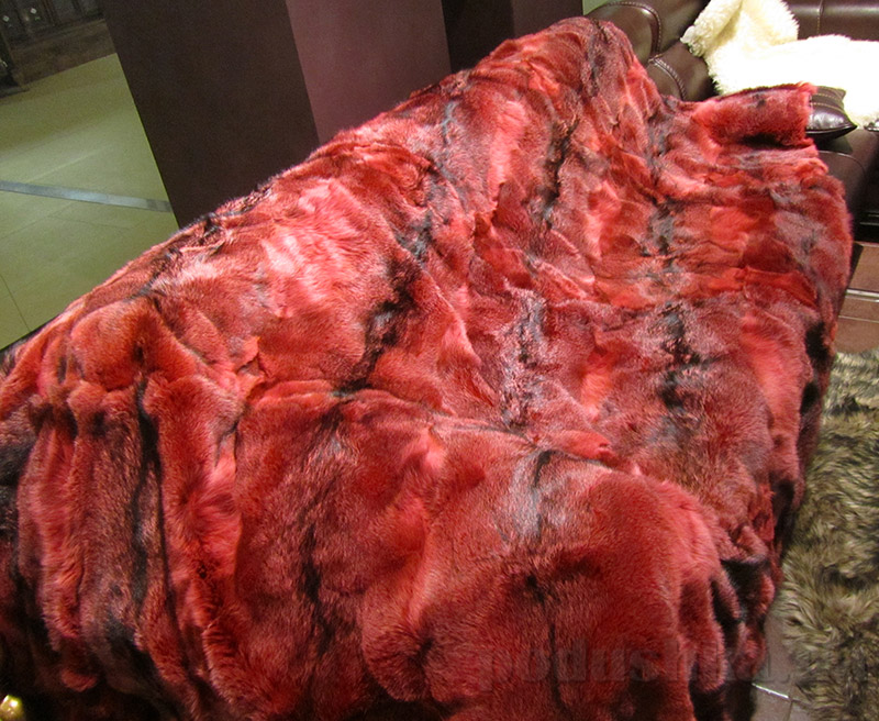 Покрывало Autstone из натурального меха лисы бордовое