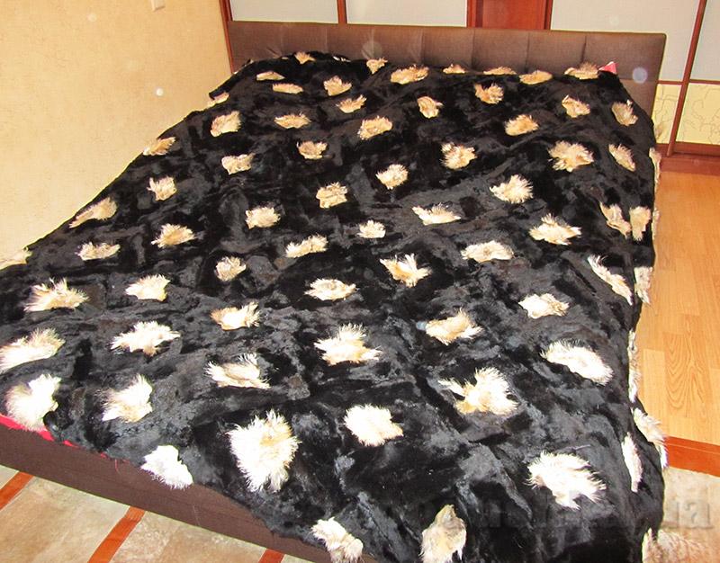 Покрывало Autstone из натурального меха лисы и щипаной нутрии