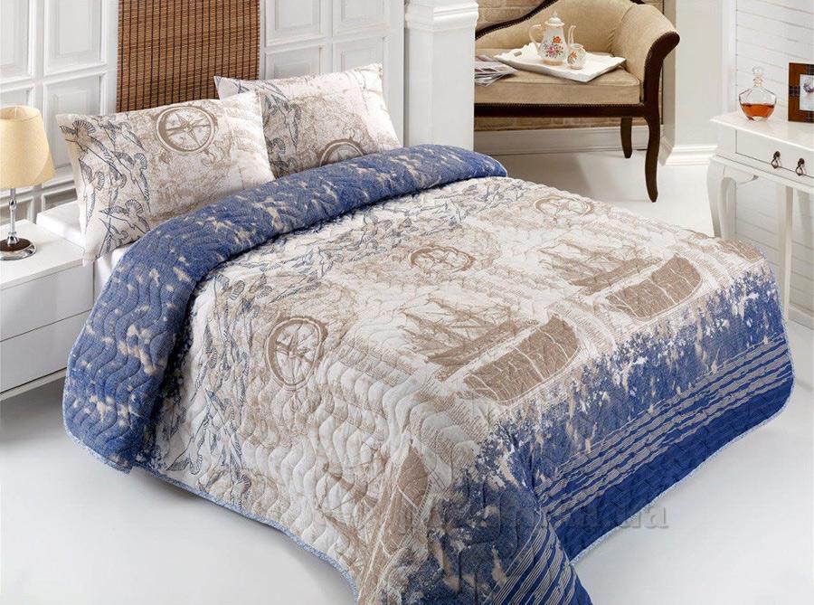 Покрывало с наволочками Eponj Pusula голубое 160х220 cм + 1 наволочка (50х70 см) Eponj