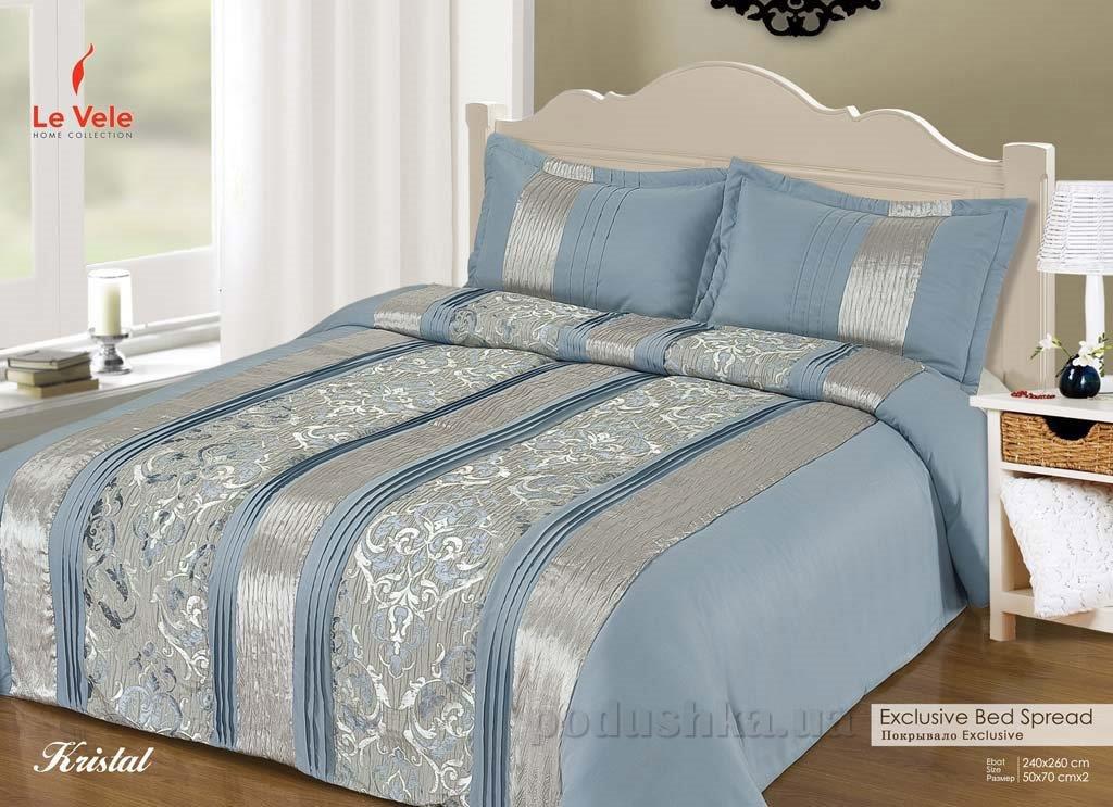 Покрывало с наволочками Le Vele Kristal blue 240х260 см + 2 наволочки (50х70 см) Le Vele