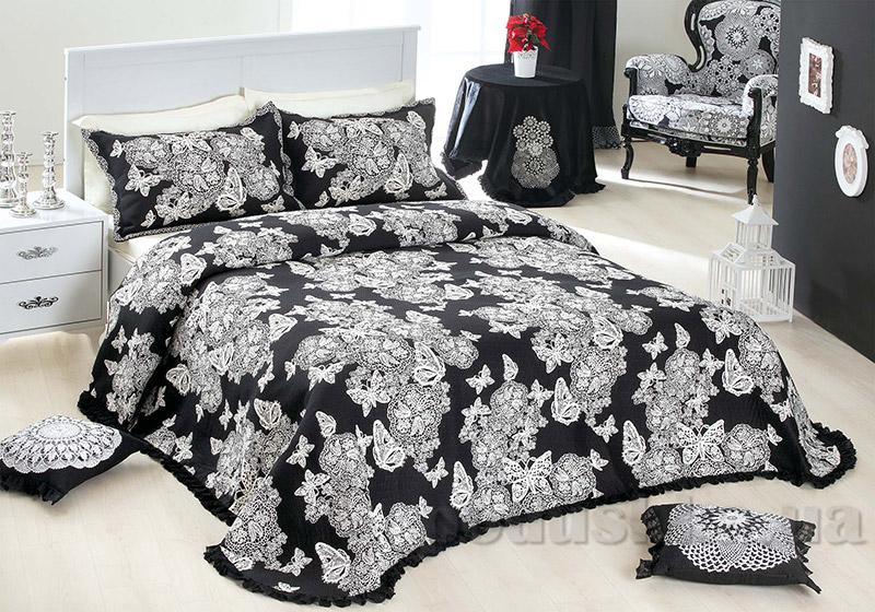 Покрывало с наволочками Moda Voce Butterfly Lace v2 черное с черным кружевом