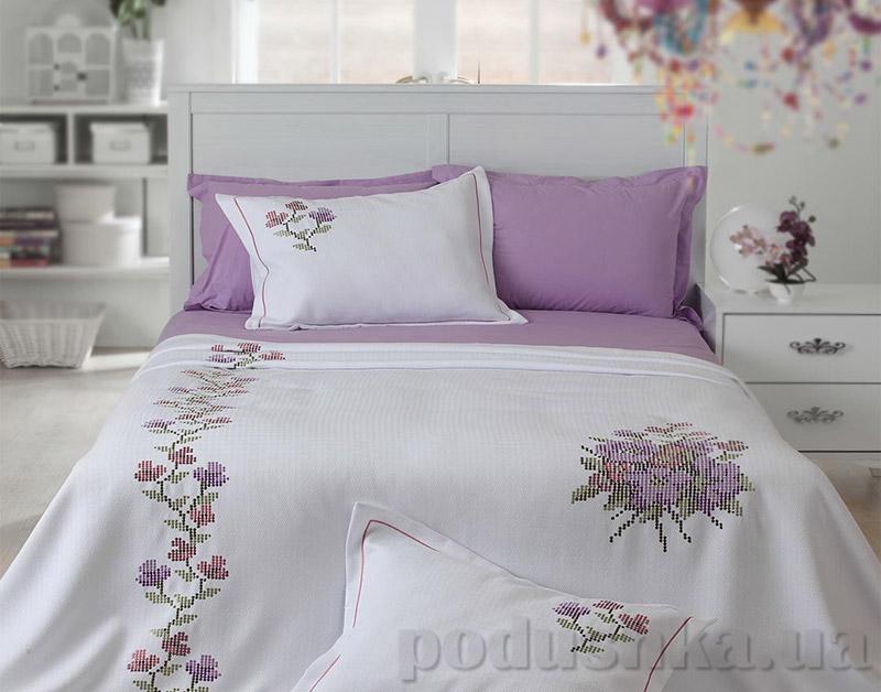 Покрывало с наволочками Moda Voce Doddy V1 фиолетовый с вышивкой