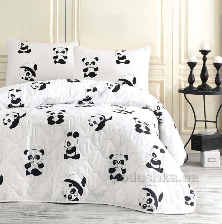 Покрывало стёганое Eponj B&W Panda с наволочками