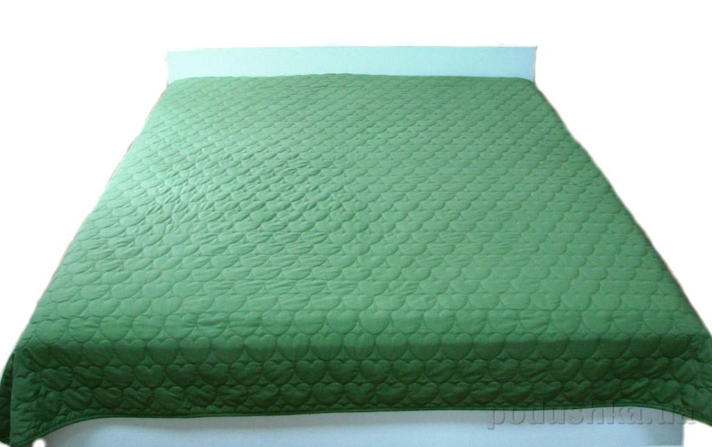 Покрывало стеганое Руно Сердечки зеленое