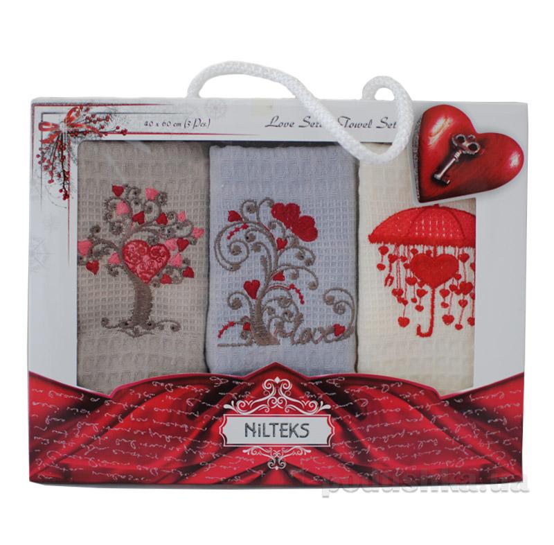 Полотенца кухонные набор в коробке Сердца