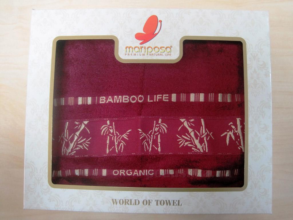 Полотенце бамбук Mariposa Gold бордовое