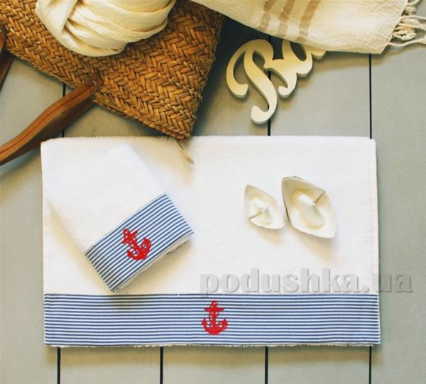 Полотенце махровое Barine Anchor stripe голубое