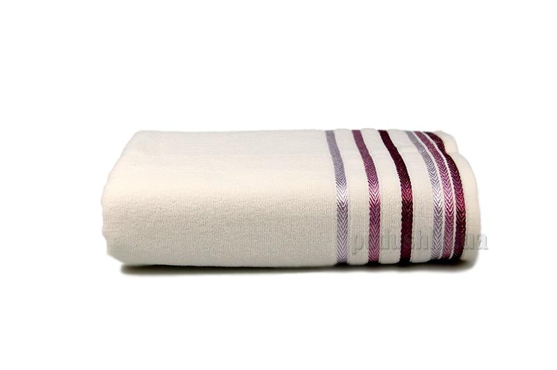 Полотенце махровое Shamrock Bianna белый с сиреневым бордюром