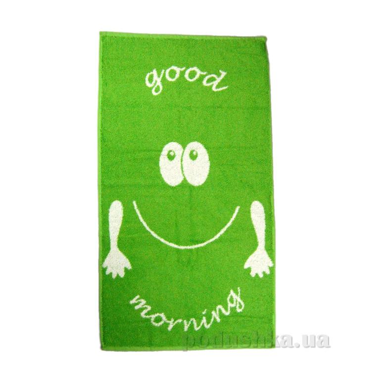 Полотенце махровое Home line Smile Good morning зелёное