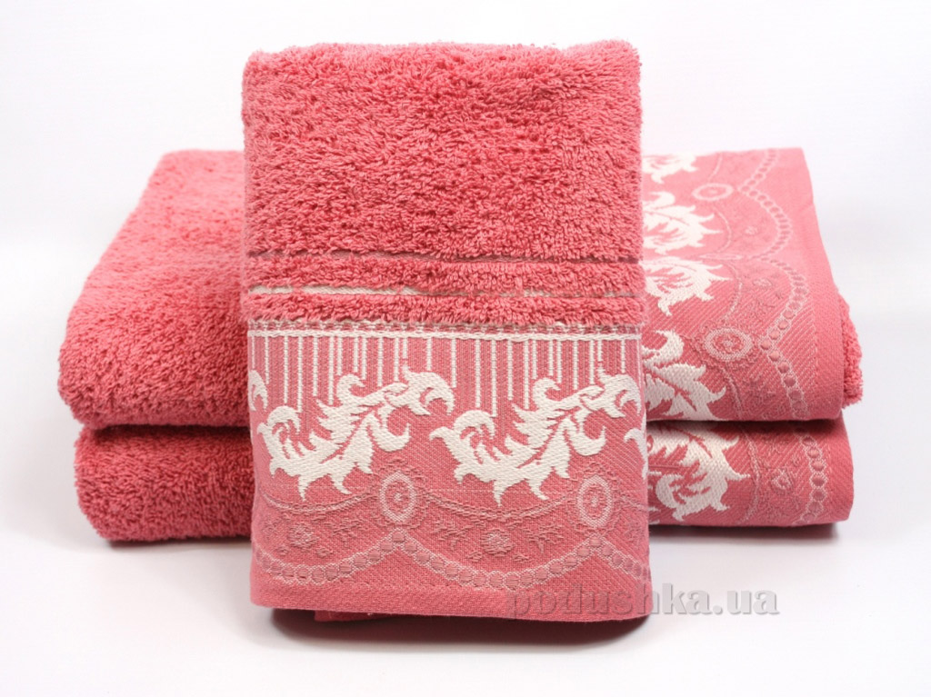 Полотенце махровое Izzihome Gardenya темно-розовое