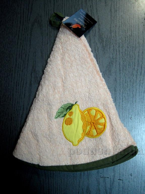 Полотенце махровое кухонное круглое Mariposa Лимон розовый