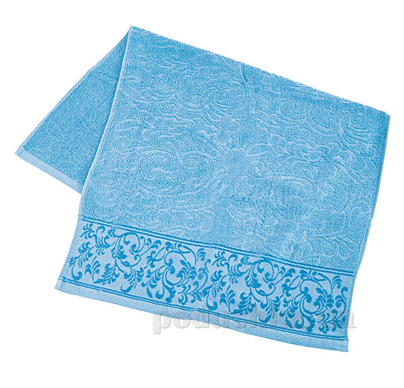Полотенце махровое с отделкой Ярослав голубое