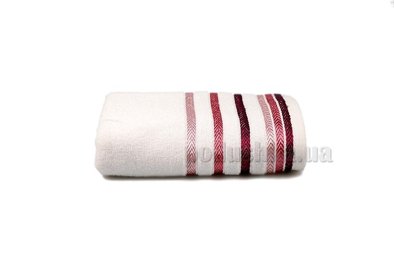 Полотенце махровое Shamrock Bianna белый с красным бордюром