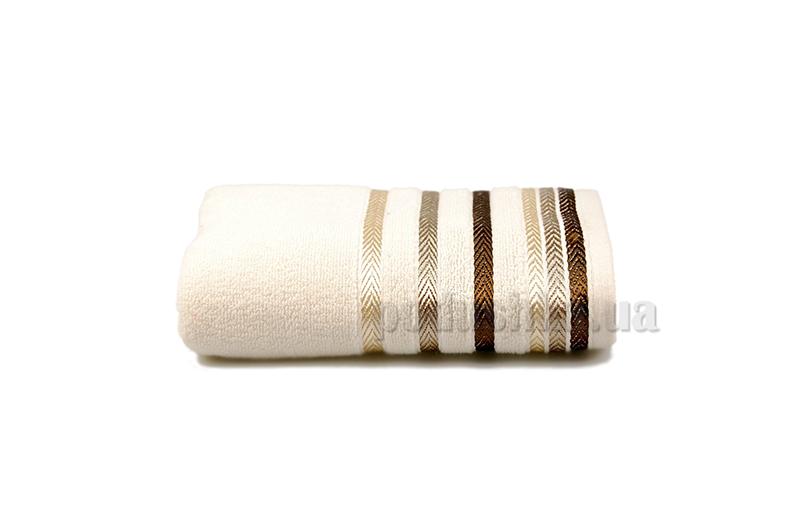 Полотенце махровое Shamrock Bianna кремовый с темно-коричневым бордюром