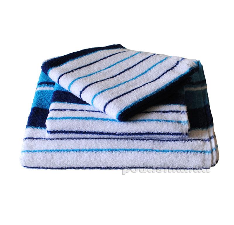 Полотенце махровое SoundSleep белое в голубую полоску