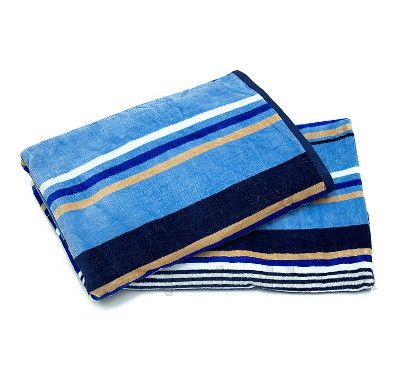 Полотенце махровое велюровое Ярослав 6 голубая полоска