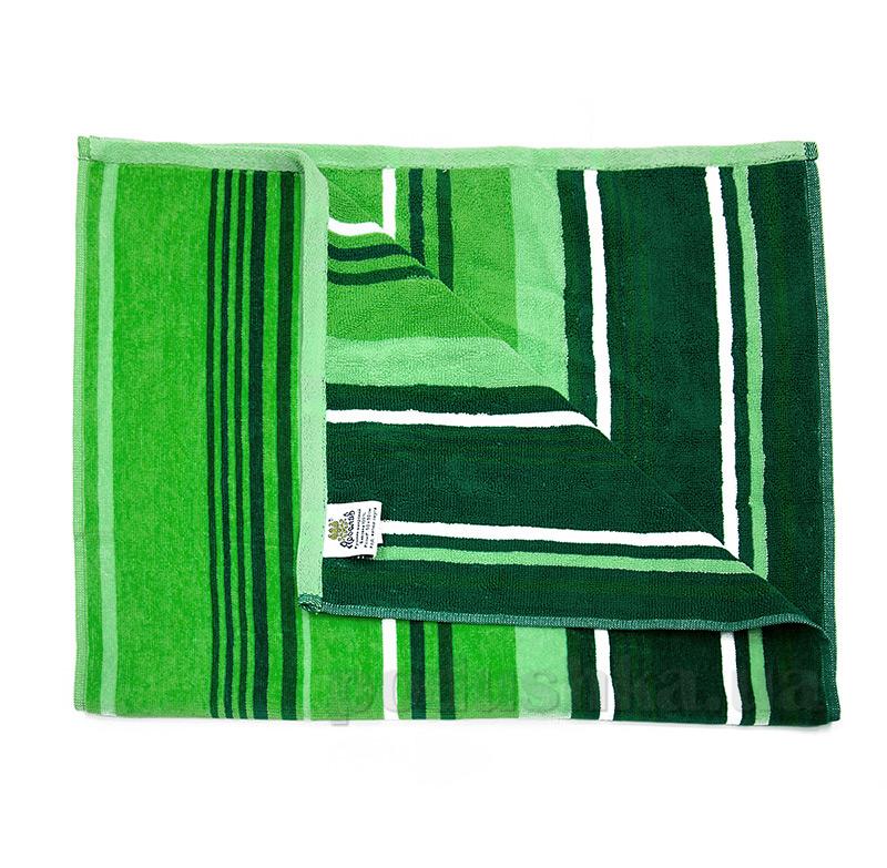 Полотенце махровое велюровое Ярослав 6 зеленая полоска