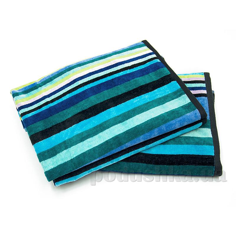 Полотенце махровое велюровое Ярослав синяя полоска