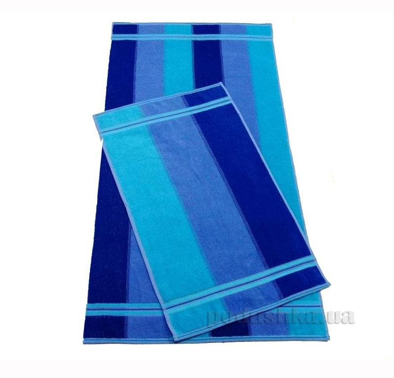 Полотенце махровое Волна Речицкий текстиль синее