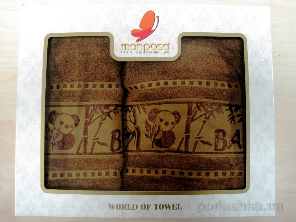 Полотенце бамбук Mariposa Panda коричневое