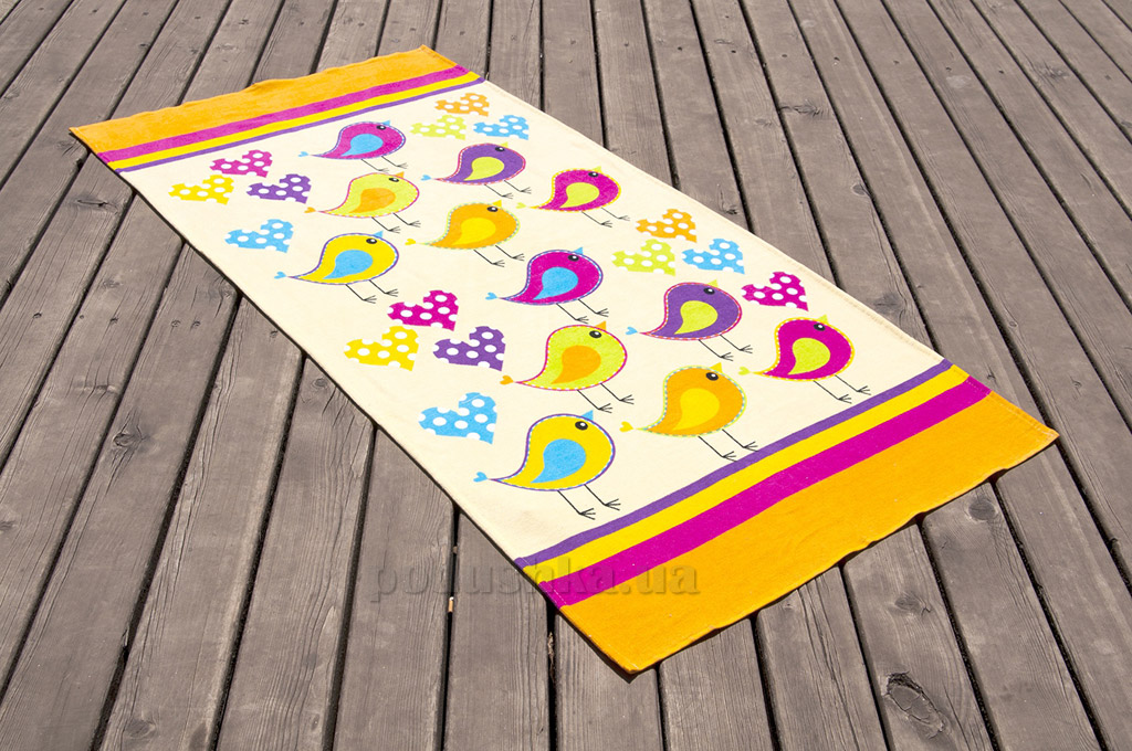 Полотенце пляжное Lotus Birds желтое