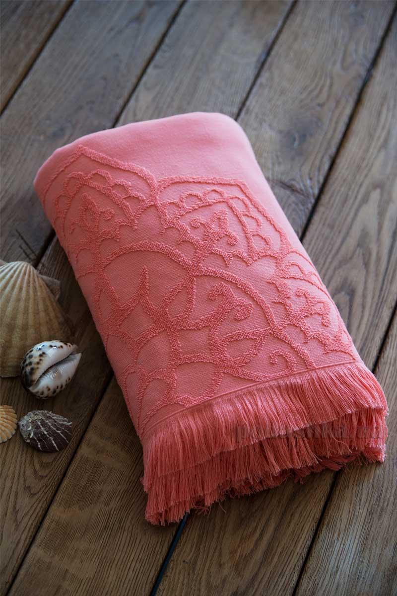 Полотенце пляжное с жаккардовым узором SoundSleep Sri Lanka peach