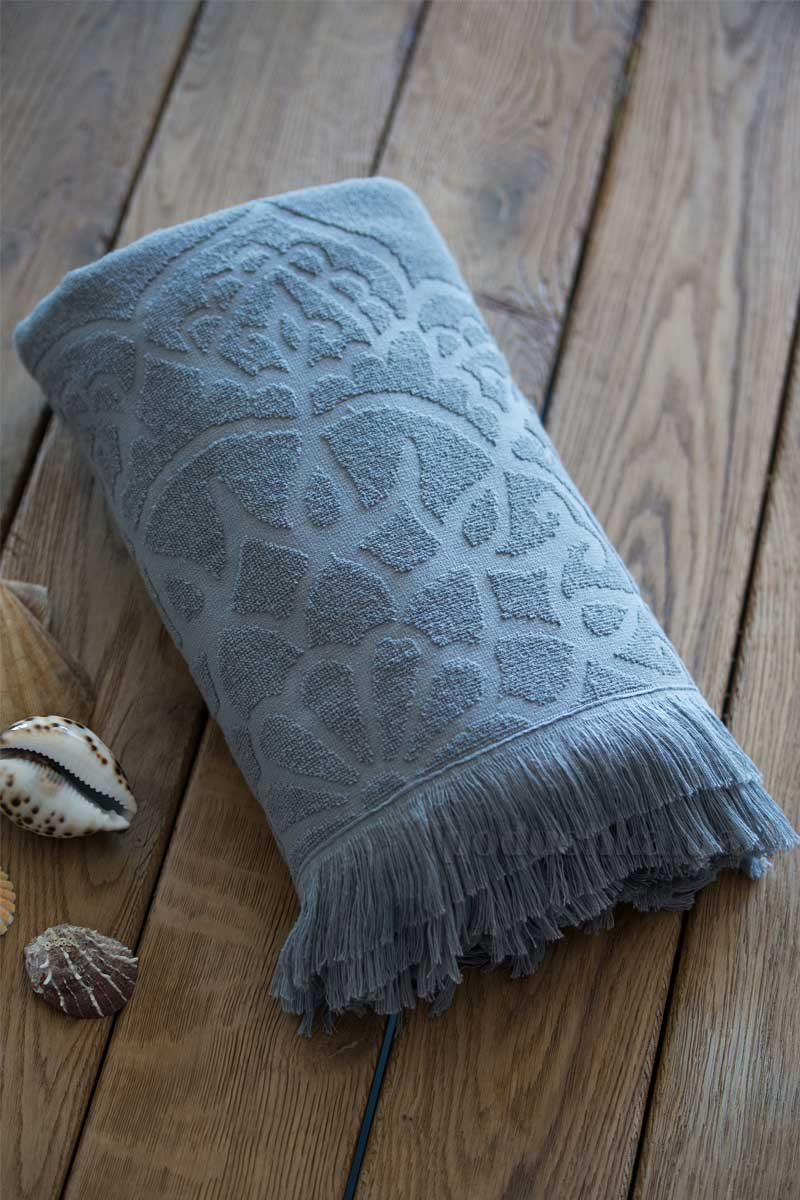Жаккардовое полотенце пляжное SoundSleep Sri Lanka grey