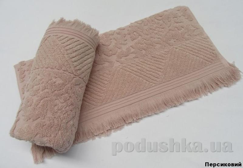 Полотенце с бахромой Arya Ayca персиковое