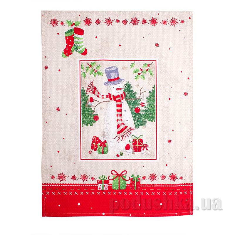 Полотенце вафельное новогоднее Снеговик Прованс 44х60 см  Прованс