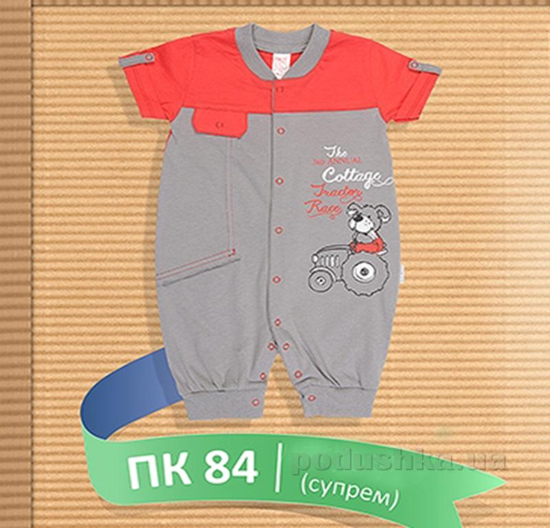 Полукомбинезон для малыша Бемби ПК 84 красный с серым