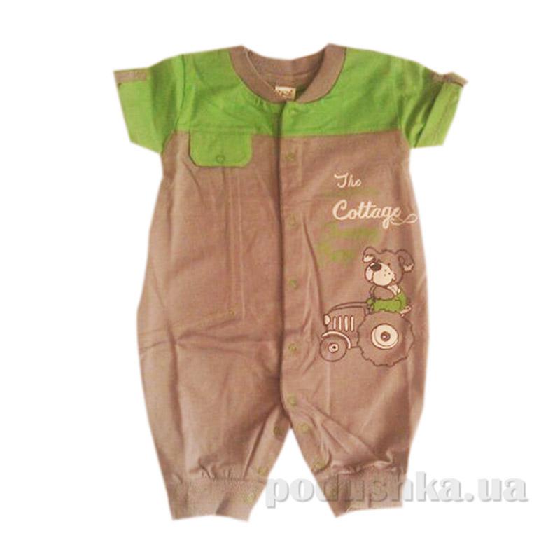 Полукомбинезон для малыша Бемби ПК 84 серый с зеленым