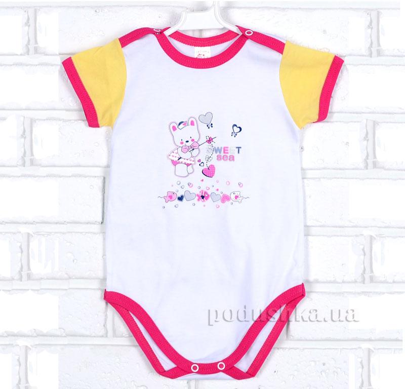 Полукомбинезон-боди для девочки Татошка 14158 бело-розовый