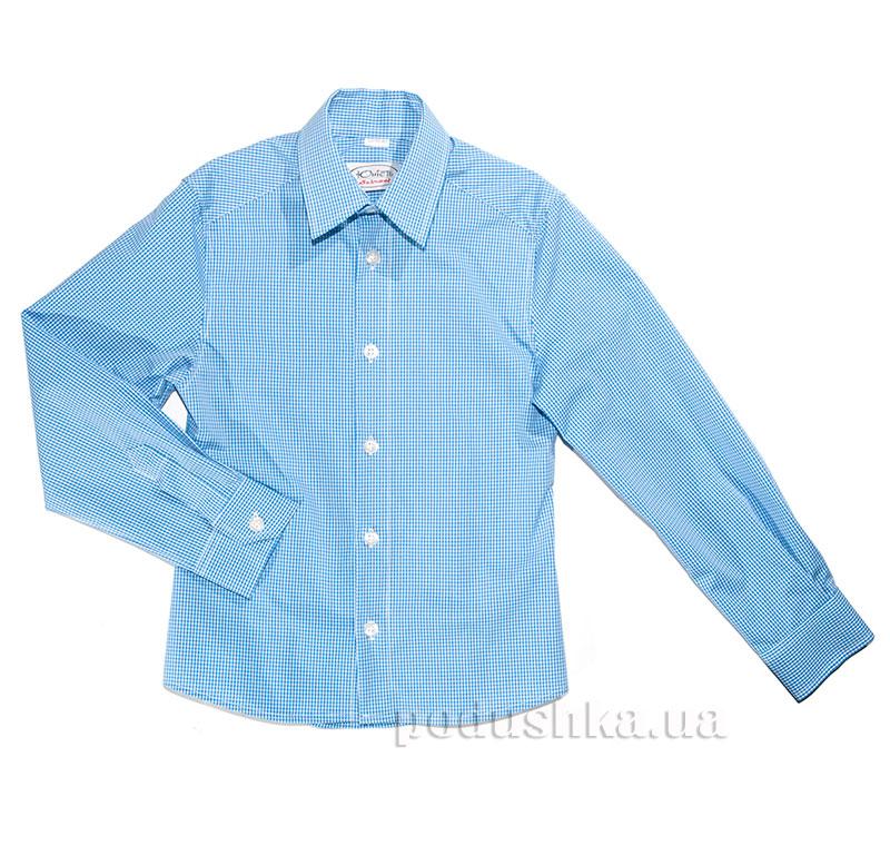 Полуприталенная подростковая рубашка Юность М-147-1 голубая