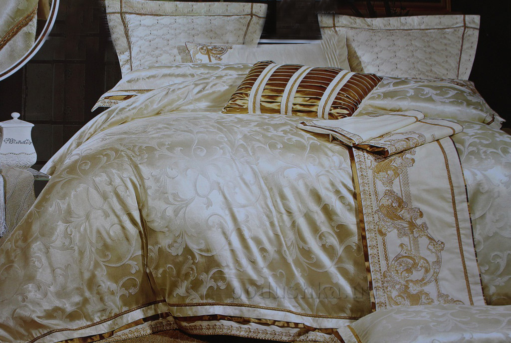 Постельное белье Alltex шелк-сатин с жаккардовым плетением 511015 Двуспальный евро комплект  Alltex