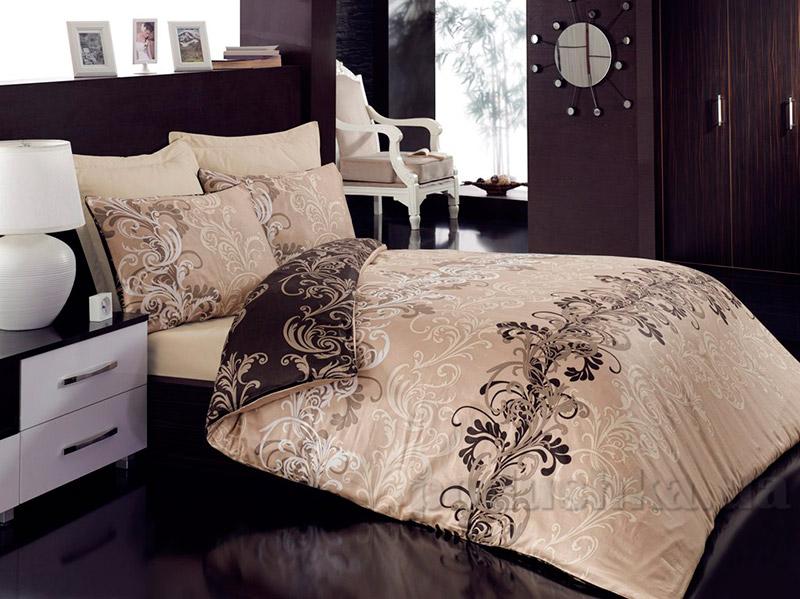 Постельное белье Cotton Box Cemile Bej Двуспальный евро комплект  Cotton box