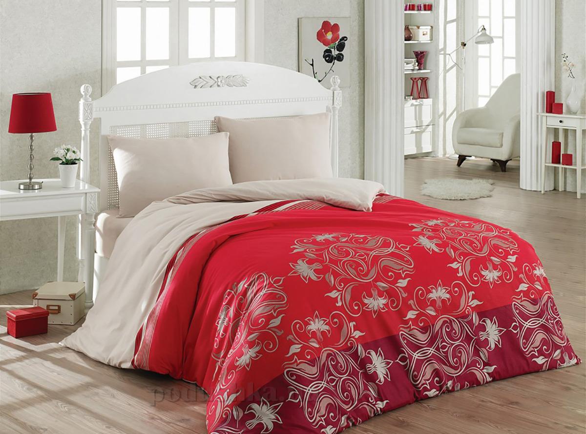 Постельное белье Cotton Box фланель Daria bordo Двуспальный евро комплект  Cotton box