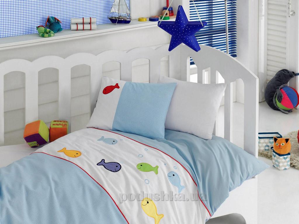 Постельное белье для новорожденных Cotton Box Akvaryum mavi с вышивкой